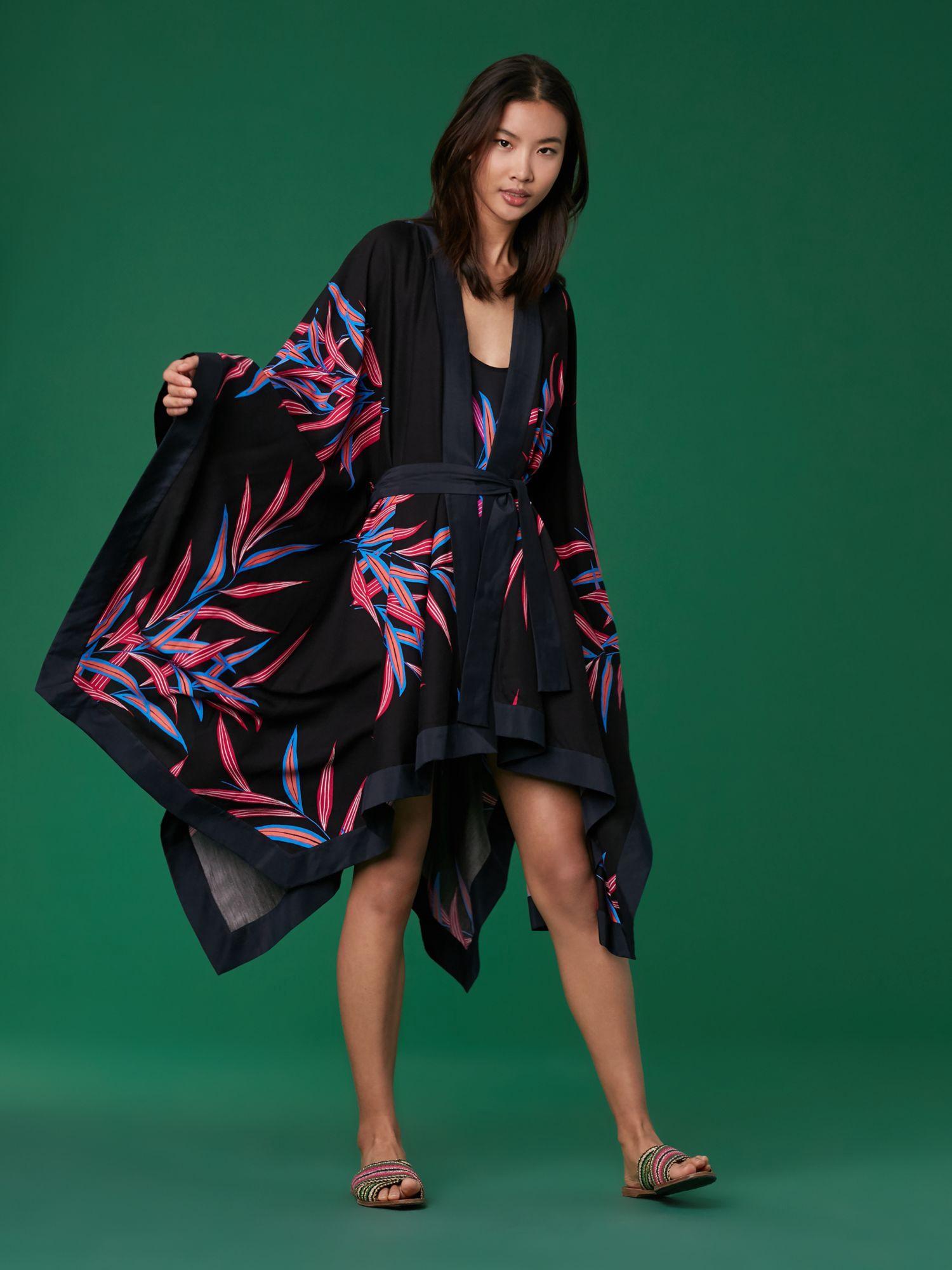 1605d1359174e Diane Von Furstenberg Dvf Beach Kimono - Bolan Black  Ultramarine Xxs
