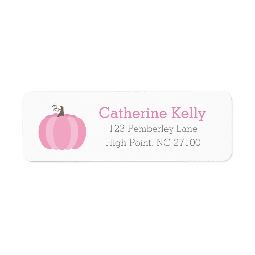 Pink Pumpkin Halloween or Shower Return Address 5 sheets