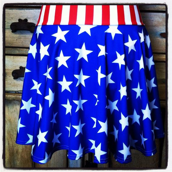 Running circle skirt red white blue stars stripes captain america ...