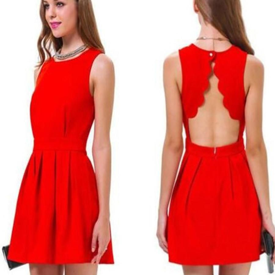 Short red open back simple elegant homecoming prom dresses sf