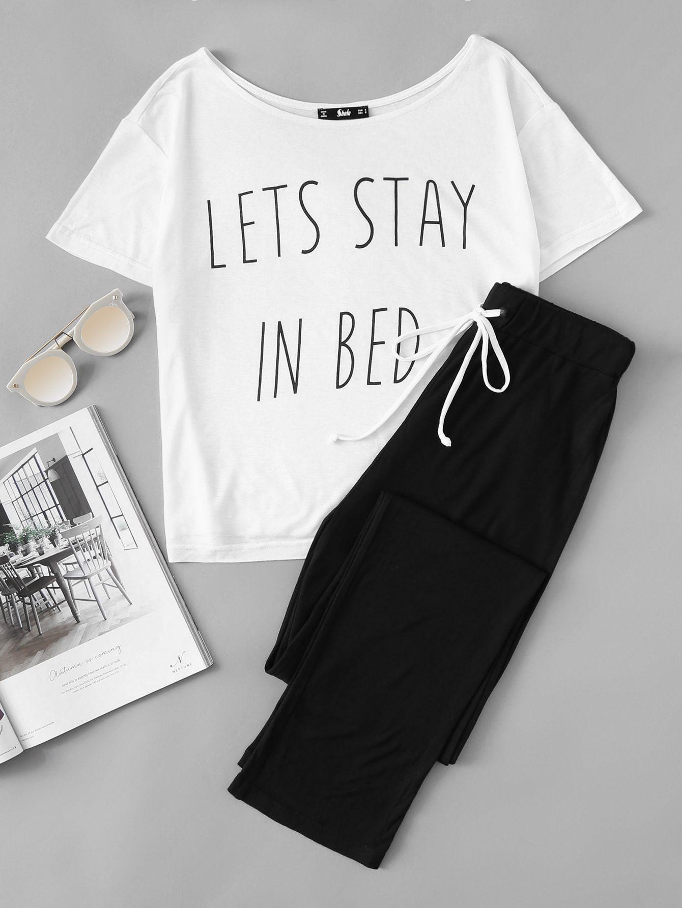 b1a5257de794 Slogan Print Tee And Sweatpants Pajama SetFor Women-romwe