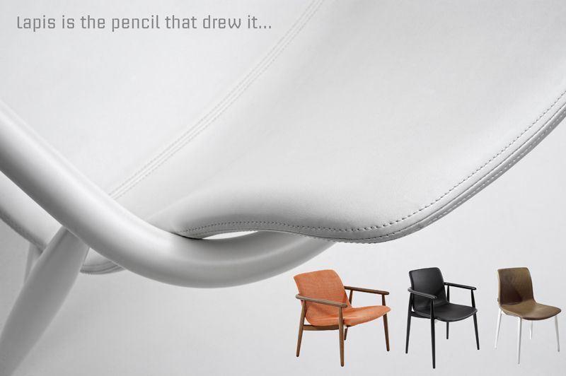 LAPIS design by CALVI & BRAMBILLA  Lapis is the pencil that drew it. It is inspired by the shape of bended ash known in the Scandinavian tradition. The curved armrests resemble the sketch of a large pencil that wraps the plywood shell upholstered in fabric or leather. The legs as well maintain the same shape and workmanship. #designfurniture #lapis #design #hotelfurniture #contractfurniture #indoordesign #indoorfurniture #furniture #chair