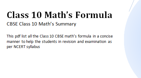 Class 10 Maths Formula Pdf Download Math Formulas Math Basic Math