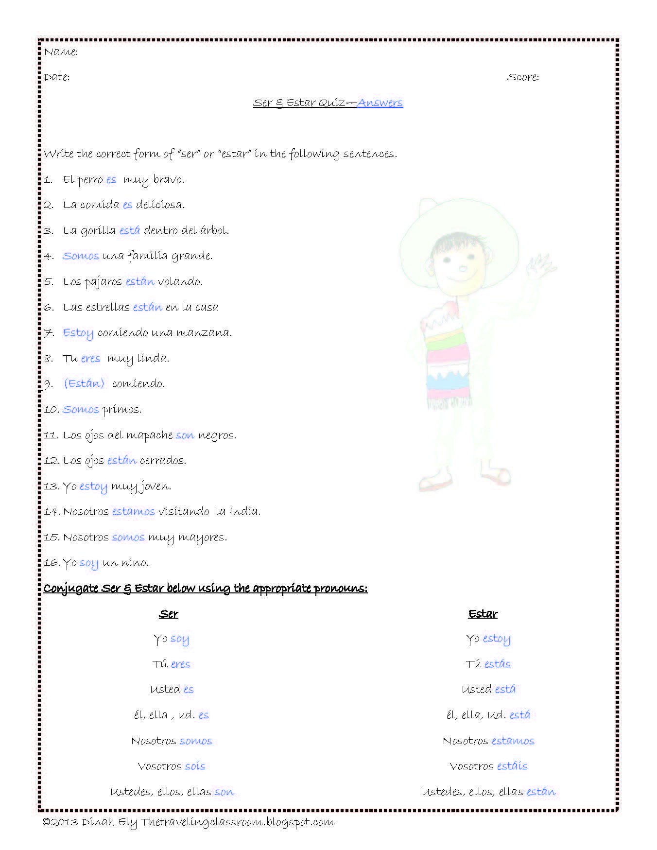 Ser Estar Y Tener Worksheet Answers