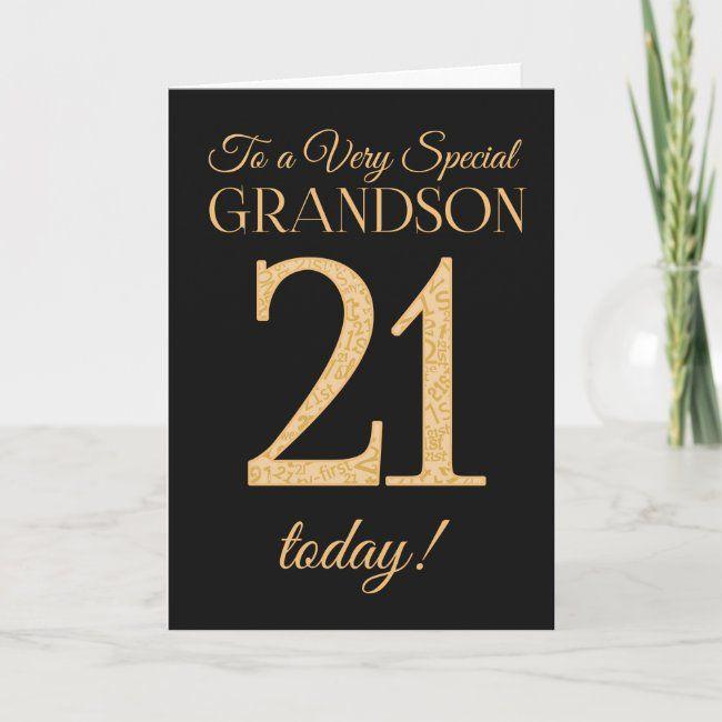 Chic 21st Gold Effect Black Grandson Birthday Card Zazzle Com Grandson Birthday Cards 21st Birthday Cards 21st Birthday Wishes