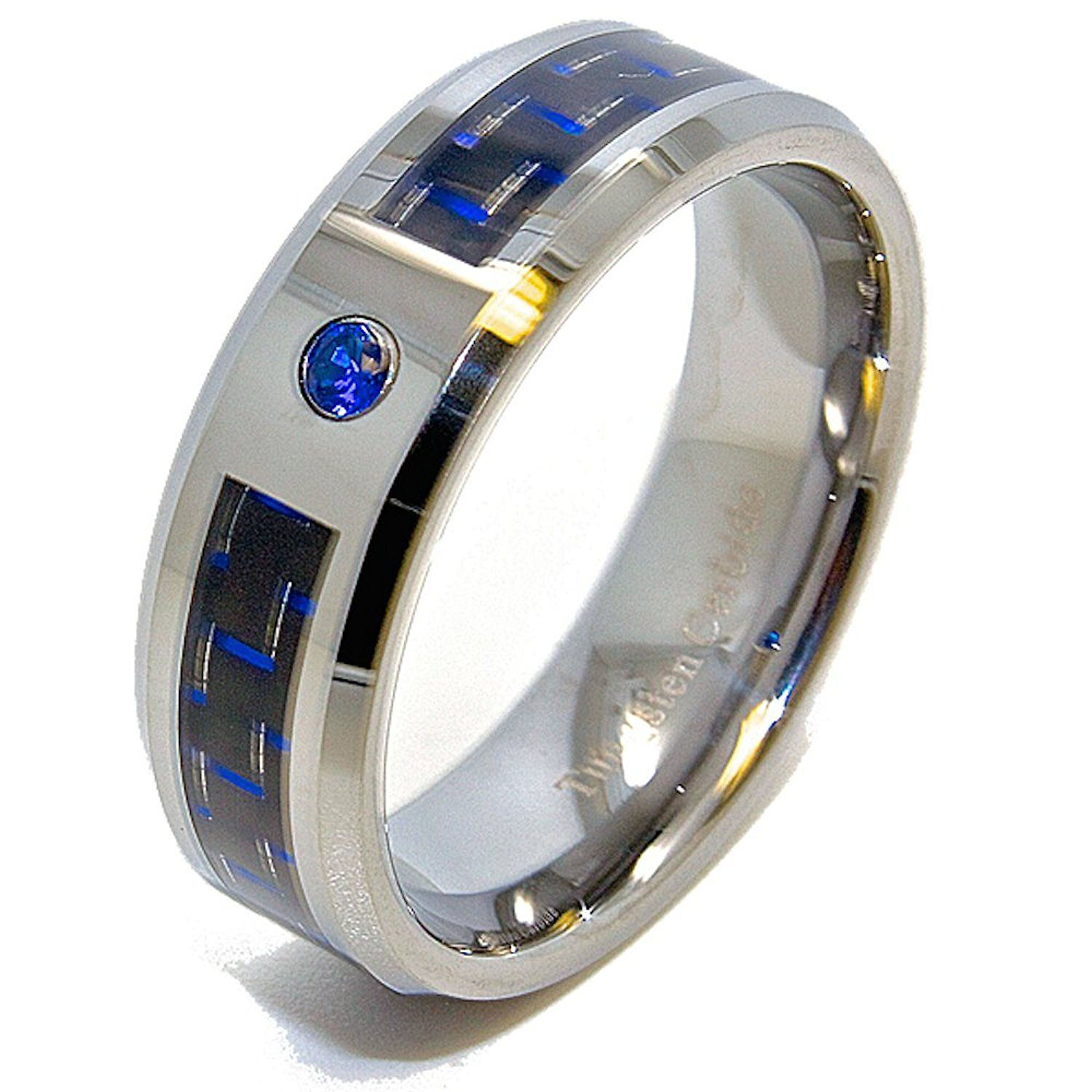 black fiber band loading diamond cobalt rings chrome wedding carbon inlay ring zoom