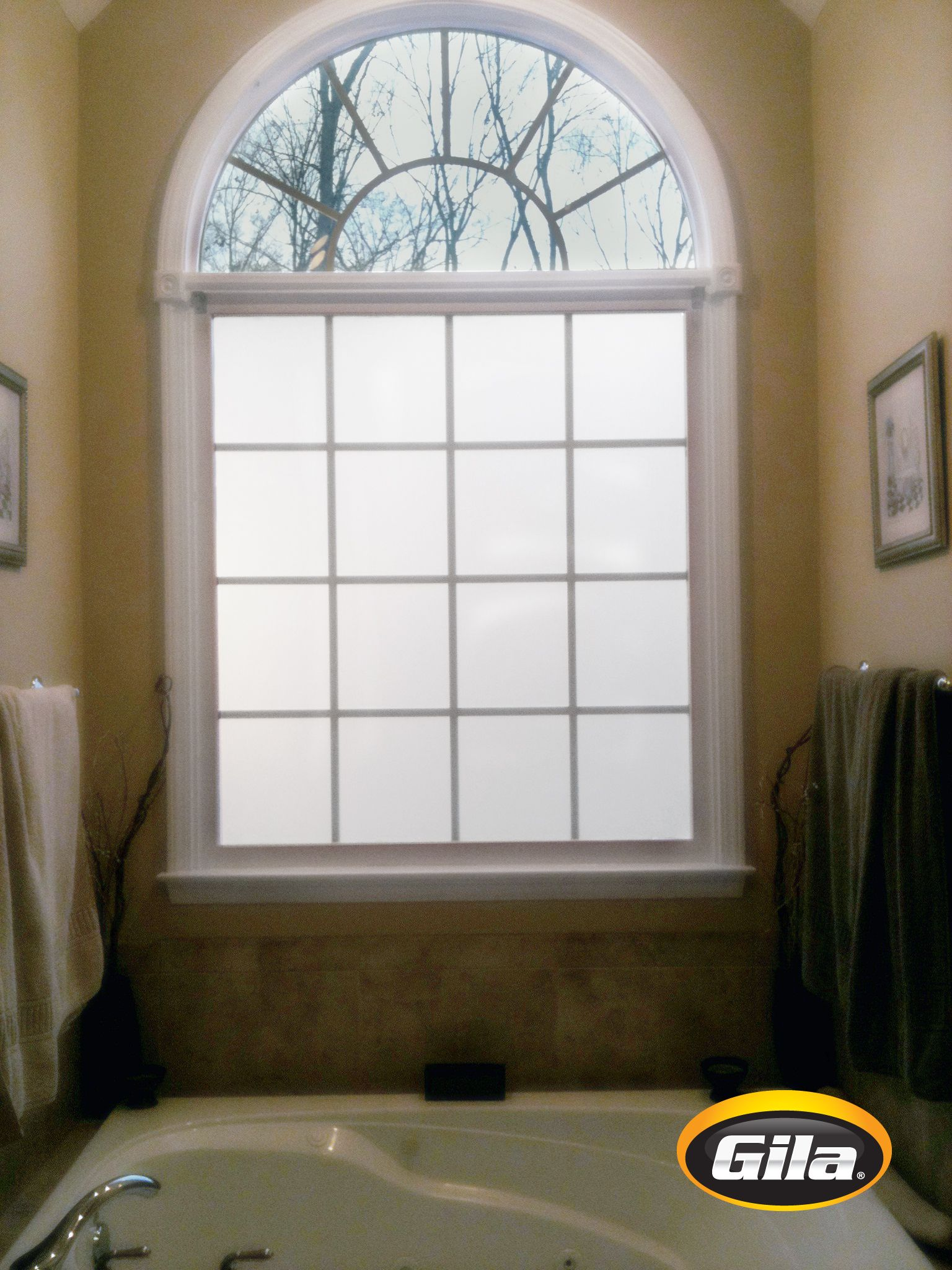 Add privacy to bathroom windows with frosted film ...