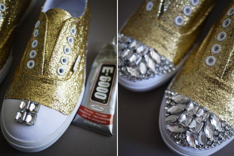 DIY Miu Miu Sneakers | Hacks + DIYs | Diy glitter sneakers