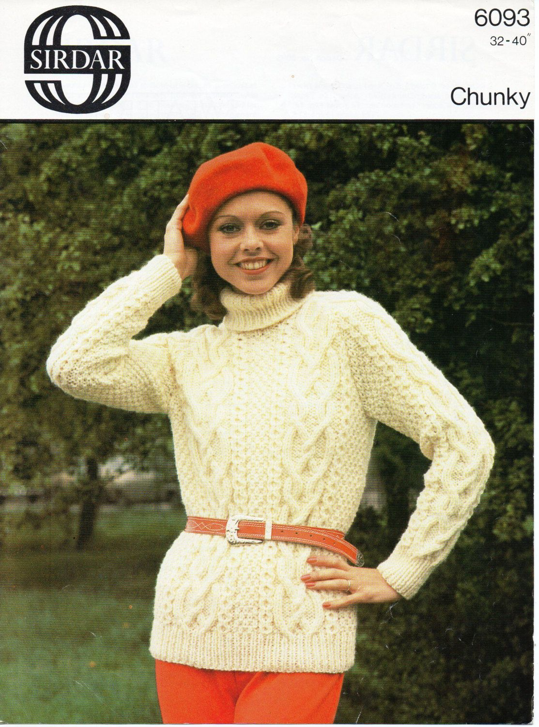 efbb11c864f4f womens polo neck cable sweater knitting pattern aran style jumper 1970s  32-40 inch chunky yarn womens knitting pattern pdf instant download by  Hobohooks on ...