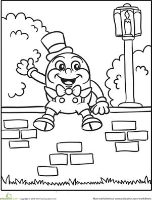 preschool kindergarten fairy tales worksheets humpty dumpty coloring page worksheet