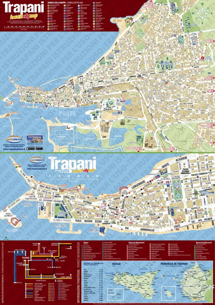 Trapani tourist attractions map Maps Pinterest Italy and City