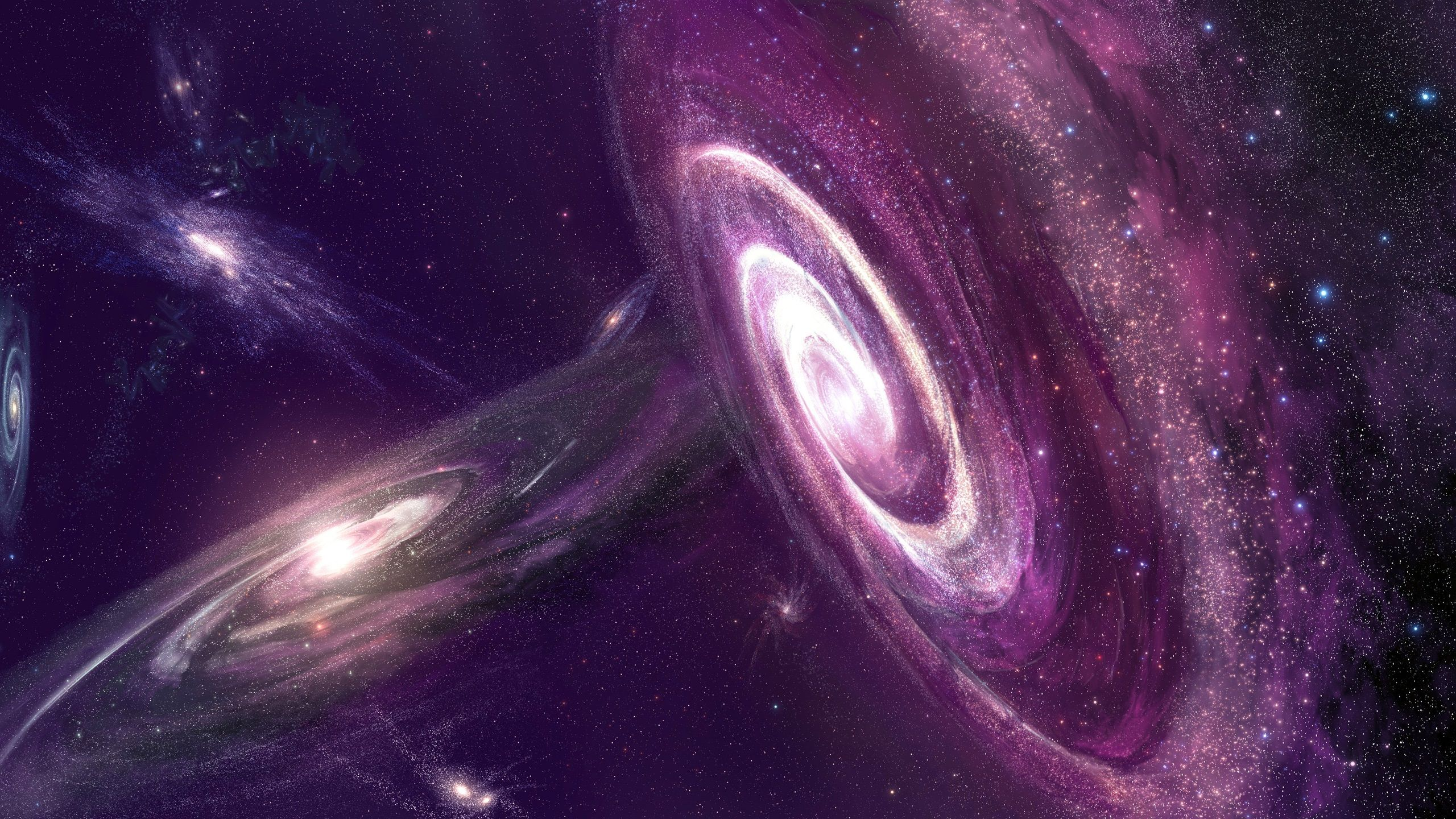 スペース 宇宙 星 銀河 星雲 紫 壁紙 2560x1440 Qhd Espace Et