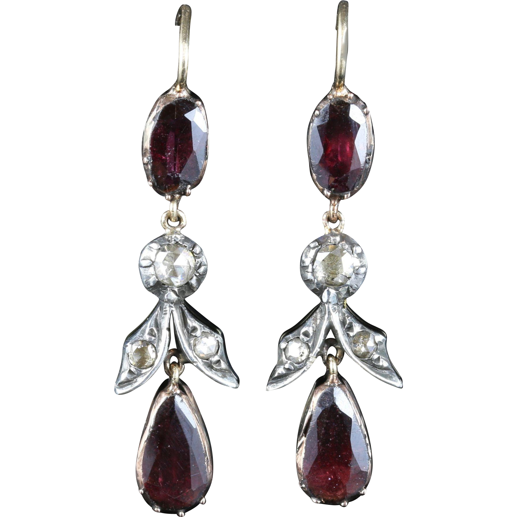 Antique Georgian Garnet Diamond Earrings Long Flat Top 18ct Gold