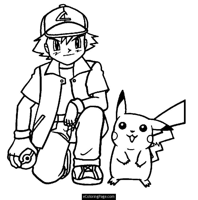Pokemon Ash Ketchum And Pikachu Anime Coloring Page Printable For