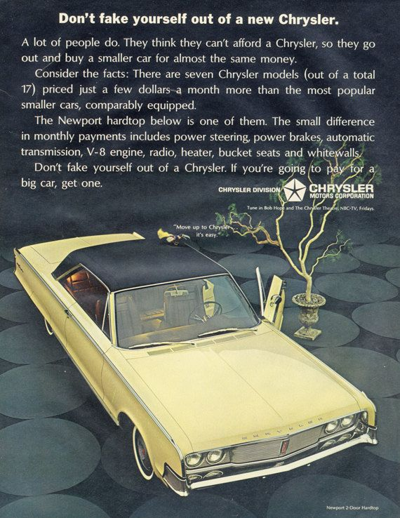 1965 Chrysler Newport 2-Door Hardtop Car Ad Yellow by AdVintageCom