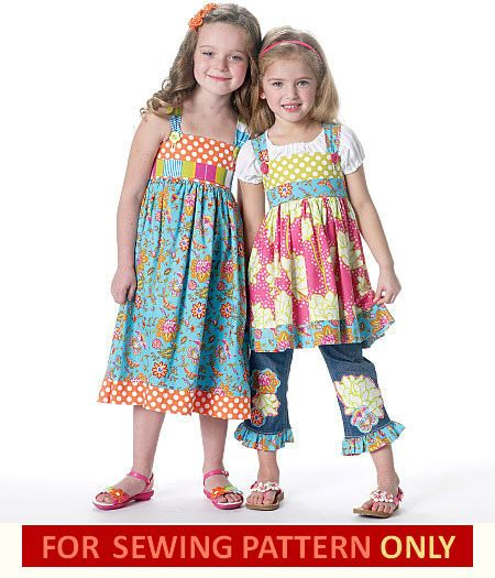 MAKE GIRLS BOUTIQUE STYLE TOP~DRESS~BELT~ACCENTS 2-5//6-8 SALE SEWING PATTERN