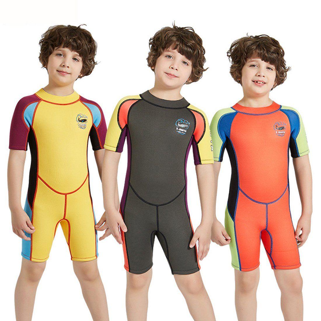Full Body Kids Wetsuit Neoprene One Piece Warm Swimsuit 2.5MM for Girls Boys Children Long Sleeve UV Protection Swimming Suit Back Zip for Surfing Scuba Snorkeling Diving Fishing
