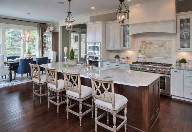 Kitchen white kitchen with open floor plan the island - Open floor plan kitchen ...