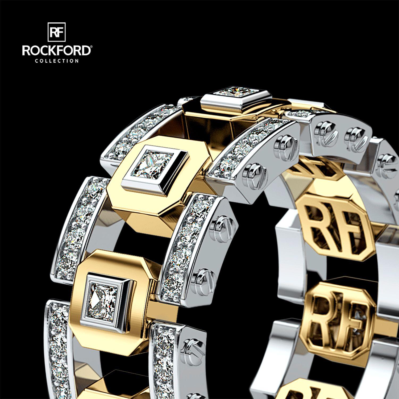 LA PAZ Mens TwoTone Gold Wedding Band with Diamonds in