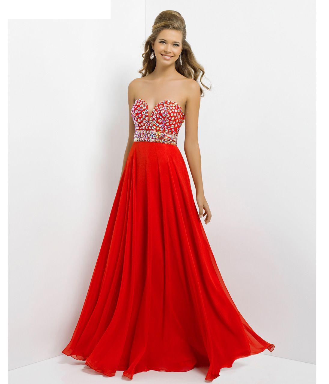 Blush 2014 Prom Dresses - Valentine Sexy V-Neck Long Prom Dress - Unique Vintage