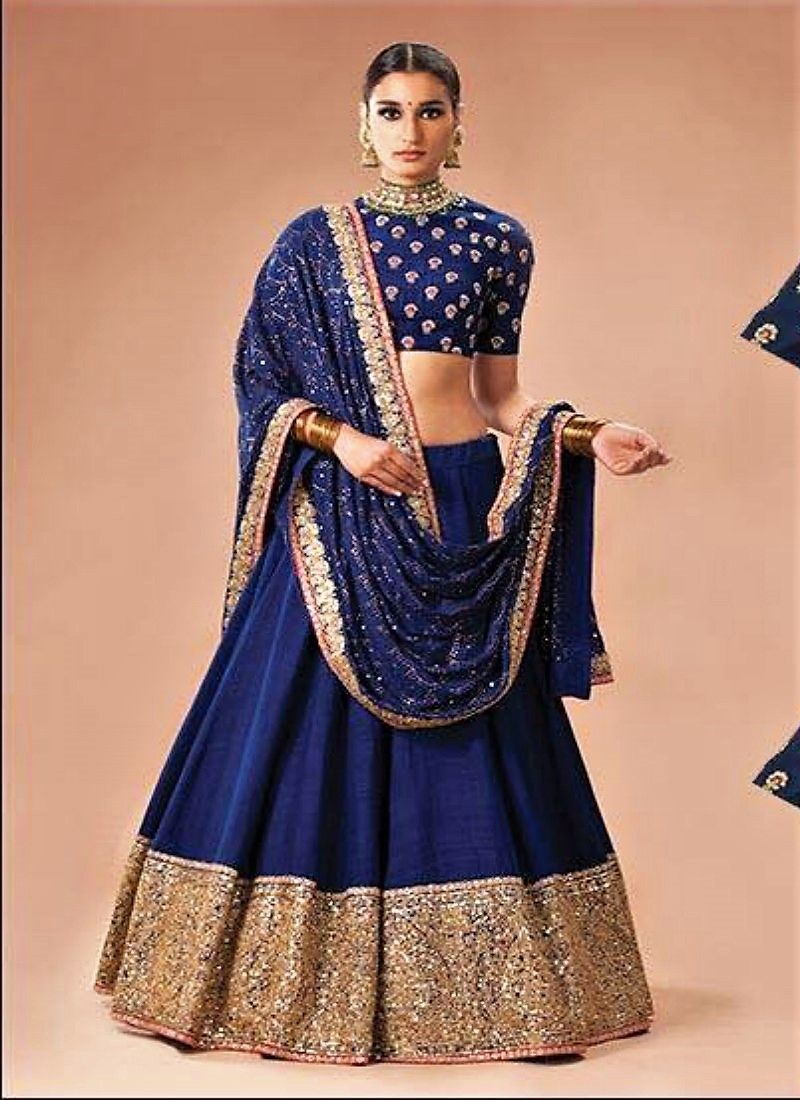 a1358fd873 Royal Blue Lehenga Choli | Indian wedding | Raw silk lehenga, Royal ...