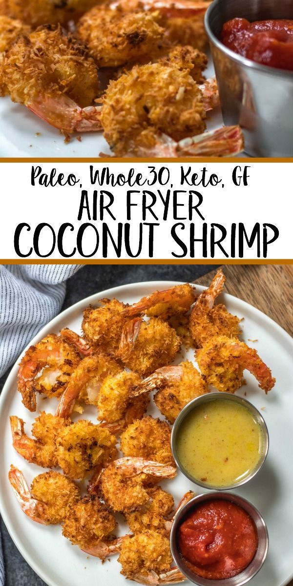 These paleo and Whole30 air fryer coconut shrimp are a healthy, gluten-free and keto alternative compared to deep frying a similar coconut shrimp recipe. With just a few simple ingredients and in less than 15 minutes you'll have yourself a family friendly and healthy recipe everyone will love, but no one says you have to share! #whole30airfryer #whole30coconutshrimp #paleoairfryer #ketoairfryer #ketococonutshrimp #paleoairfryerrecipes #easyshrimprecipes
