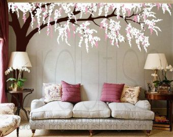 Wall Decals Cherry Blossom With Birds 3 Colors Medium Vinyl Wall Art Tree Wall Decal Baby Nursery Wall Decals Tree Wall