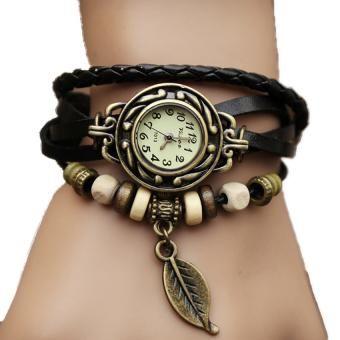 7fb2f57213be Reloj Artesanal Vintage con Pulsera de Cuero y Dije Para Dama - Café ...