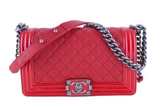 Chanel Red Le Boy Bag, Medium Goatskin Classic Flap