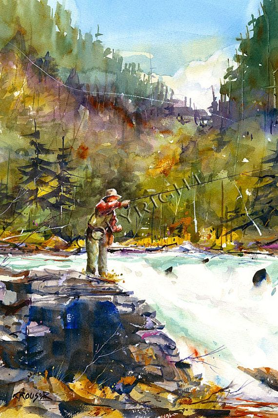 Fishing Watercolor Print By Dean Crouser By Deancrouserart On Etsy