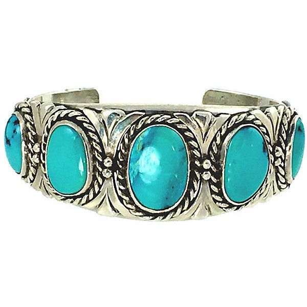 Pre-Owned Navajo Sky Blue Turquoise Cuff (€890) ❤ liked on Polyvore featuring jewelry, bracelets, green turquoise jewelry, preowned jewelry, cuff jewelry, blue sky jewelry and turquoise jewellery
