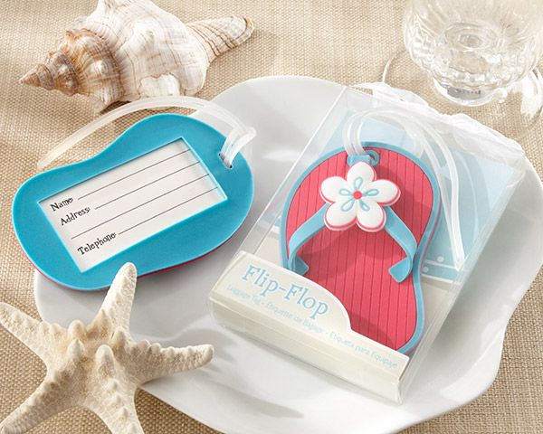 flip flop luggage tag as practical beach or destination wedding favors as low as $2.21