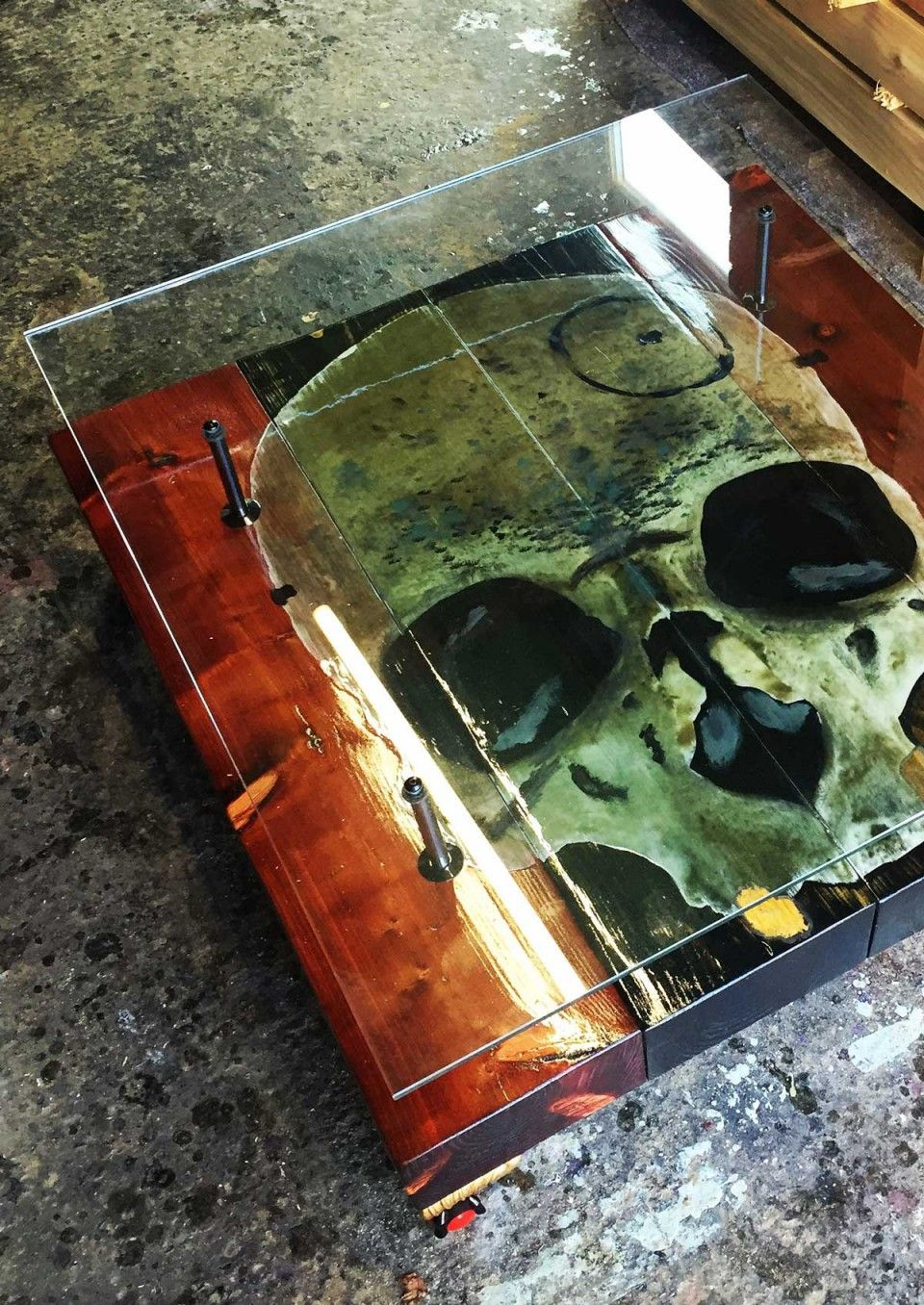 This Beautiful Bespoke Glass Top Gothic Skull Coffee Table By Cappa E Spada Is A Gorgeous Vintage Pi Automotive Decor Furniture Design Modern Alternative Decor [ 1356 x 960 Pixel ]