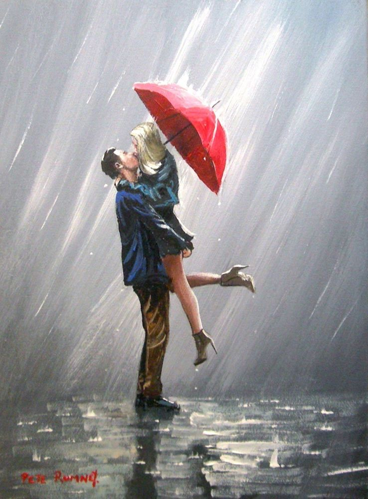 Pete Rumney Art Original Canvas Painting Kissing In The Rain Red Umbrella Love | eBay