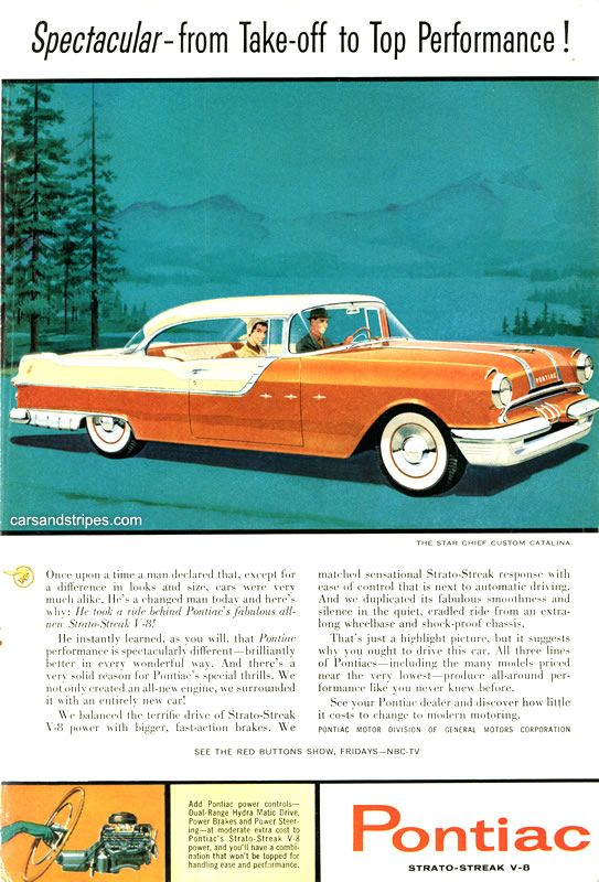 1955 Pontiac Star Chief Custom Catalina Spectacular Take Off Vintage Print Ad