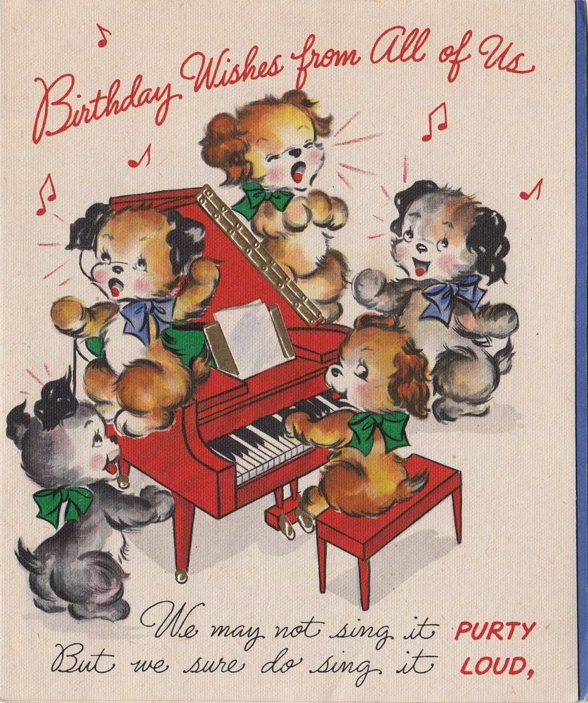 Vintage Greeting Card Dogs Singing Piano Puppy Hallmark 1940s E868 Vintage Greeting Cards Greeting Card Image Vintage Birthday Cards
