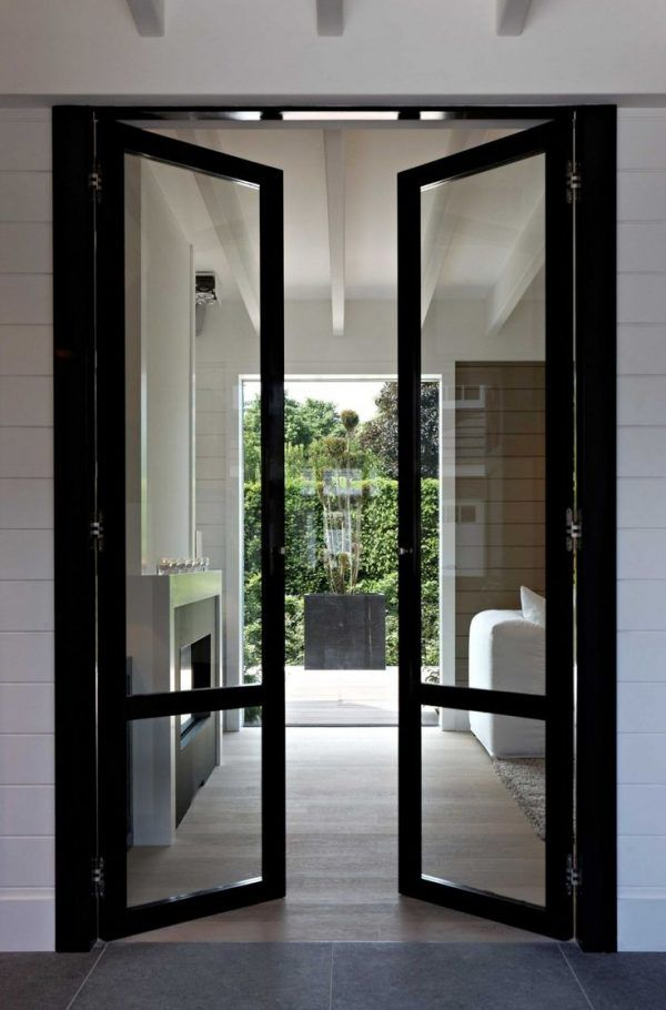 Decoration Inspiring Hallway Doors With Glass For Glazing Panels With Black Wood Frame And Baldwin French Doors Interior Doors Interior Steel Doors And Windows