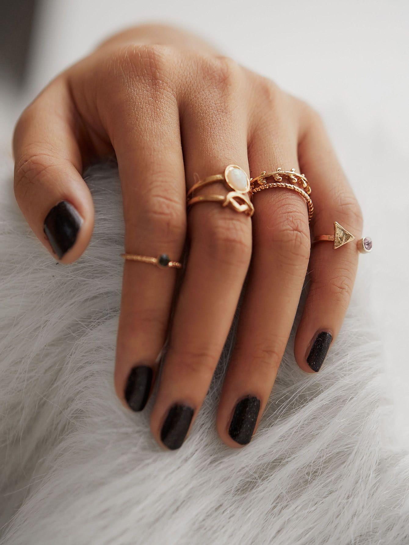 Shop Leaf & Geometric Design Ring Set With Gemstone online. SheIn offers Leaf & …