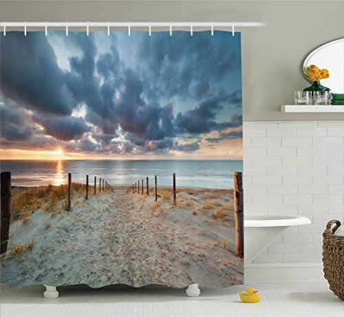 Ambesonne Tropical Decor Collection Purple Orange Black Sunset over the Ocean with Tropical Palm Trees Twilight Sundown Scenery Print 84 Inches Extra Long Polyester Fabric Bathroom Shower Curtain