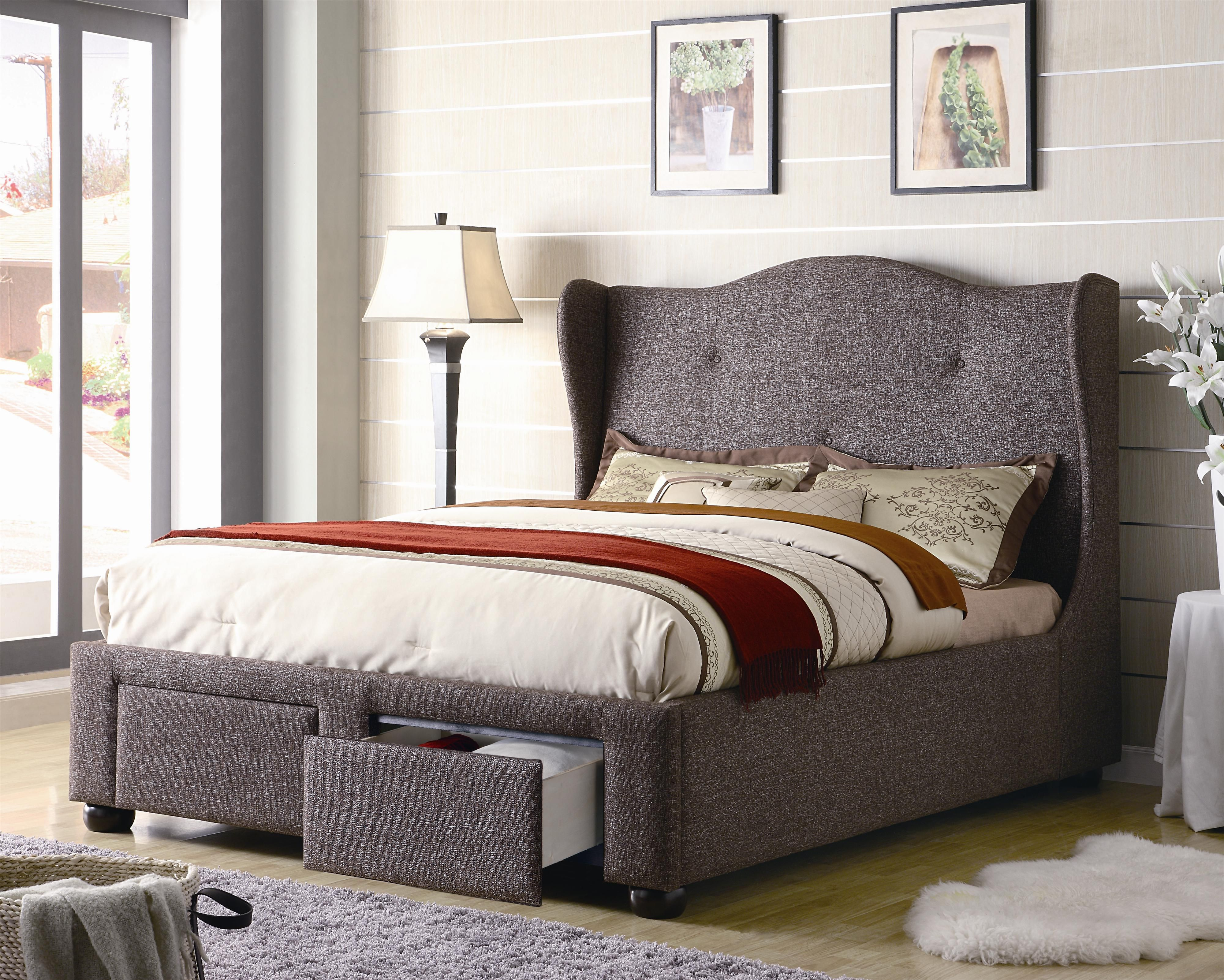 Upholstered Cleo Queen Brown Tweed Wing Bed With Storage Drawers