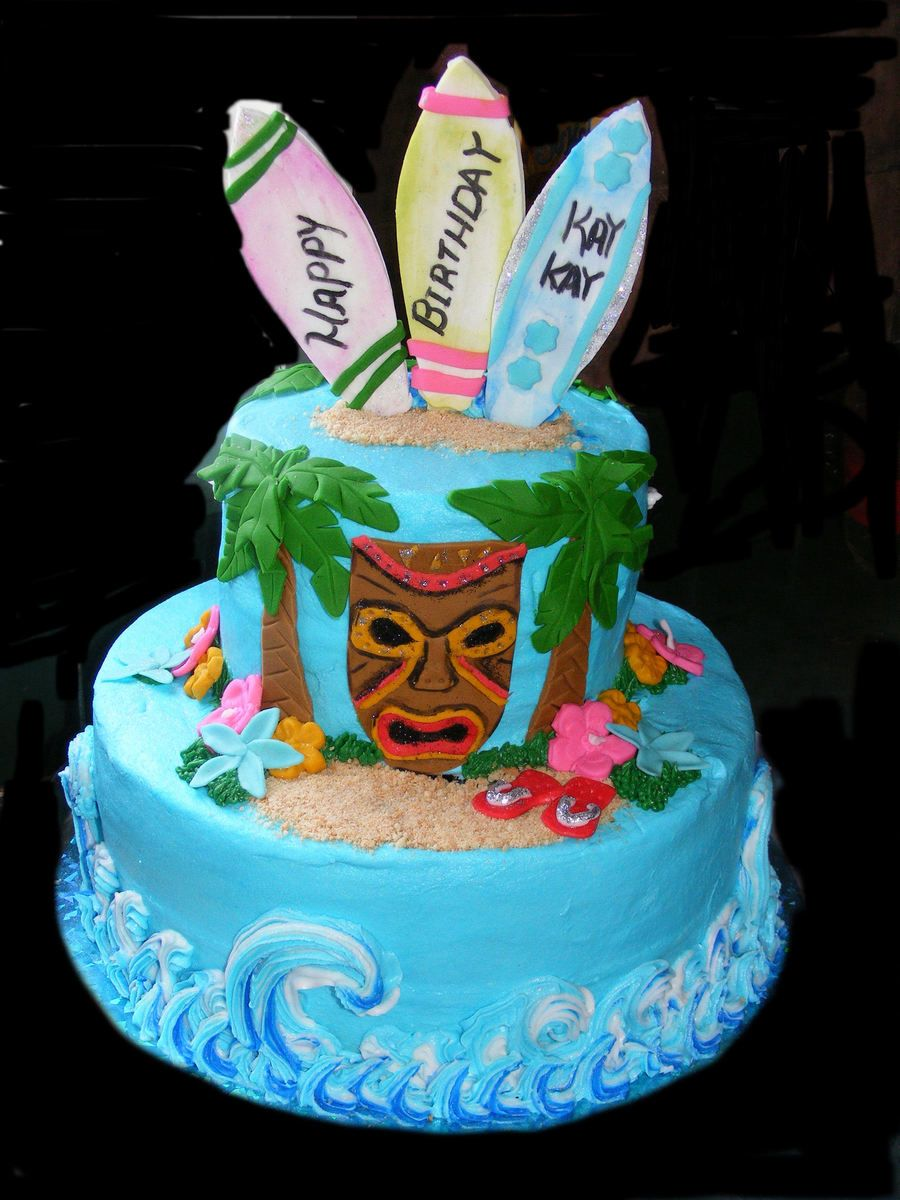 Luau Birthday Cake All Buttercream Except For Accents