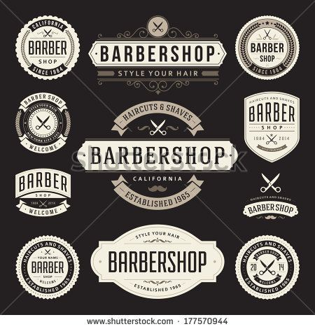 Barber shop vintage retro vector flourish and calligraphic ...