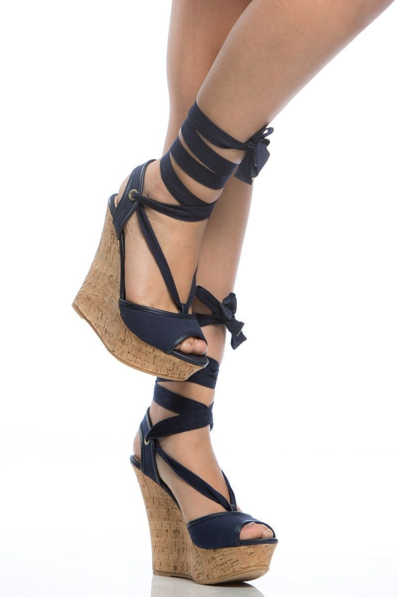 Navy Woven Wrap Around Cork Wedges @ Cicihot Wedges Shoes Store ...