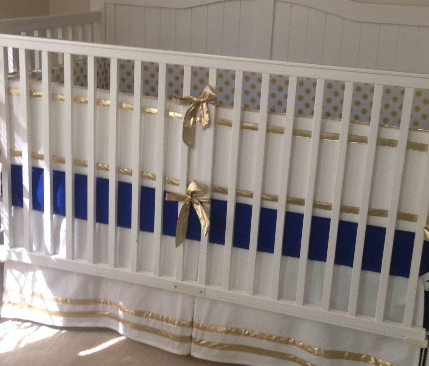 Gold And Royal Blue Crib Bedding Set By