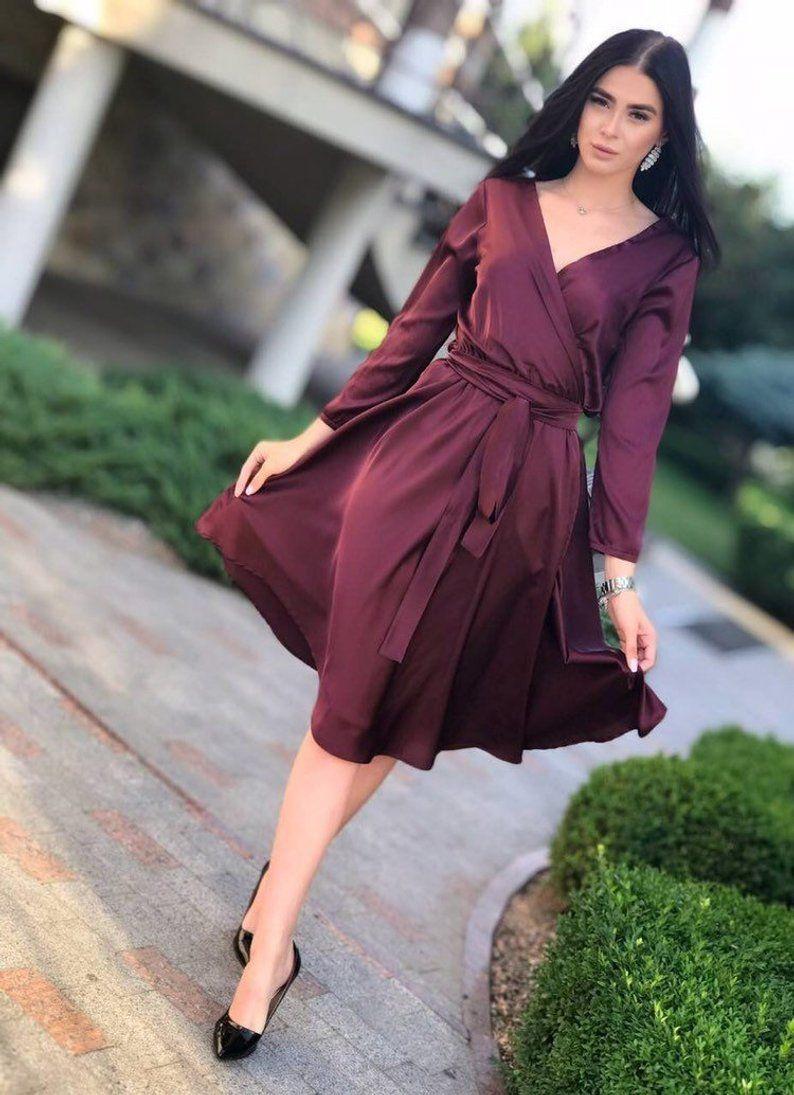 Burgundy silk short dress summer bridesmaid dress boho