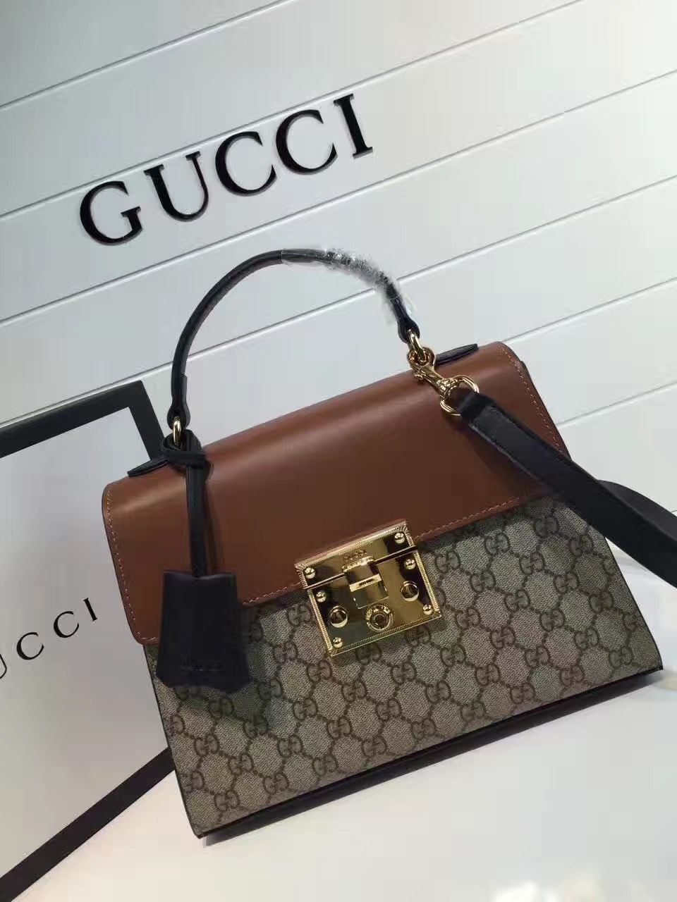 df1a93512 Gucci Padlock GG Supreme Top Handle Small Bag 453188 Brown 2016 ...