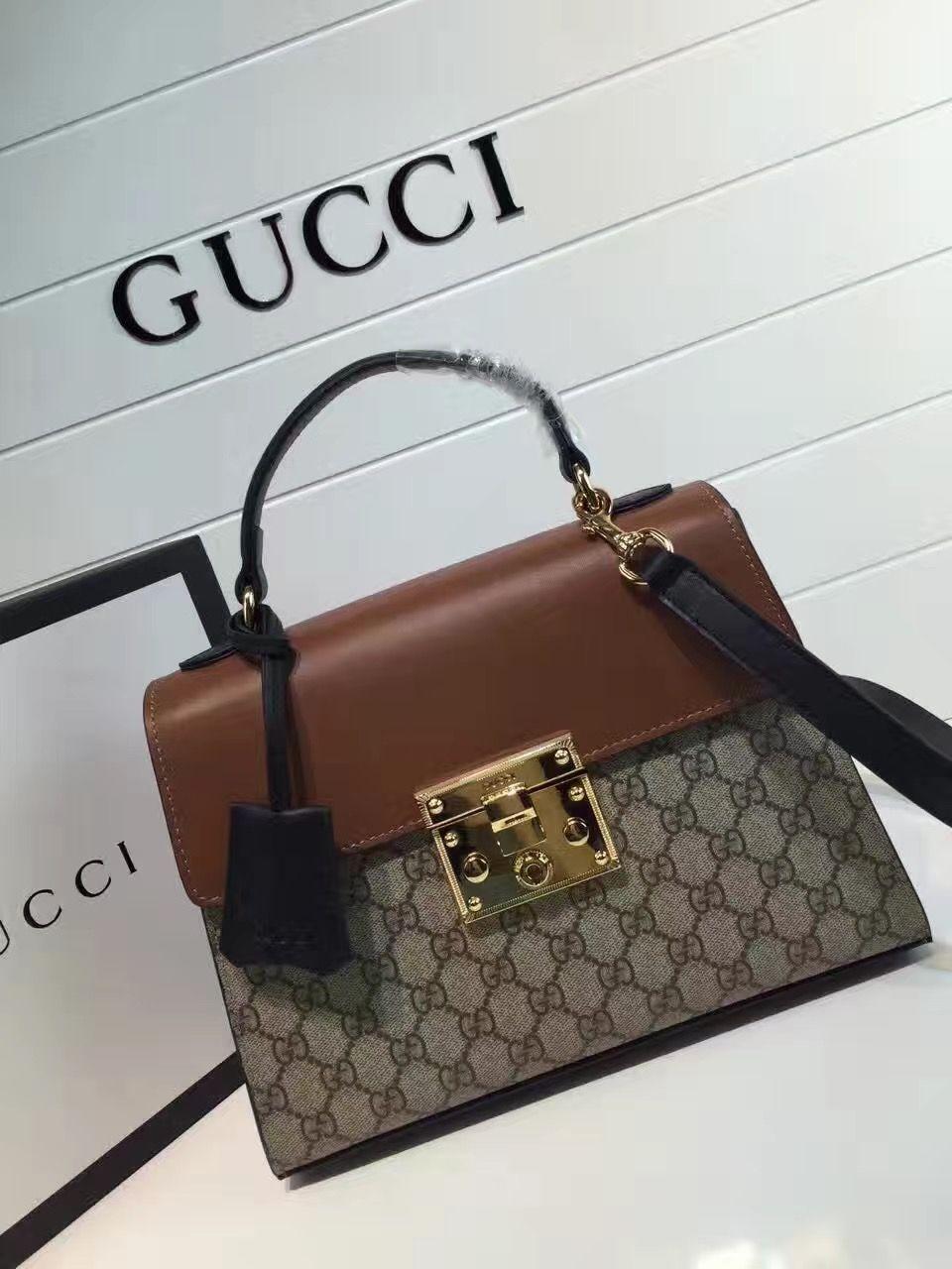 3310b15fbf92 Gucci Padlock GG Supreme Top Handle Small Bag 453188 Brown 2016 ...