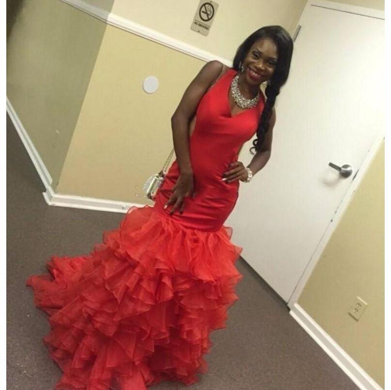 South lace prom dress black