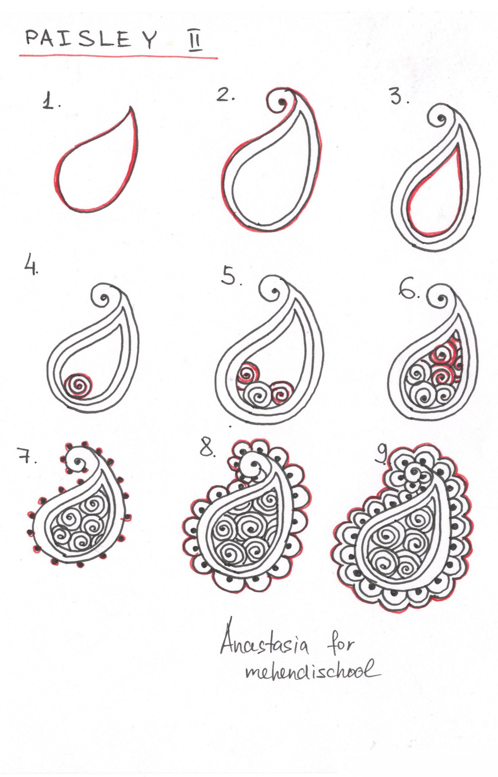 How to draw indian mehndi henna paisley small tutorial for Simple paintings to draw