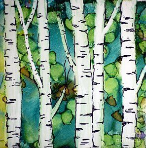 Alcohol Ink Painting - Birch Forest by Beth Kluth